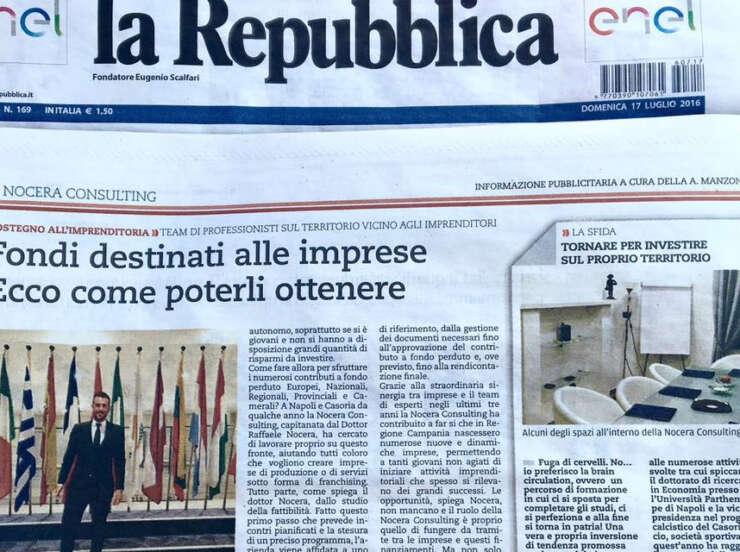 Il quotidiano Nazionale La Repubblica parla del Dr. Nocera Raffaele e dei successi della Nocera Consulting